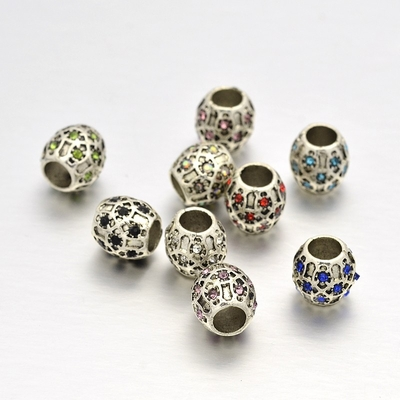 Barrel Silver Rhinestone European Beads, Large Hole Beads, Choose Color, 10x10mm, Hole: 5mm