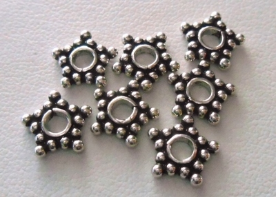 Bead - 10mm - 7 Beads - Sterling Silver<br>B37-10