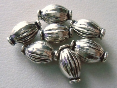 Bead - 10x5mm - 7 Beads - Sterling Silver<br>B15
