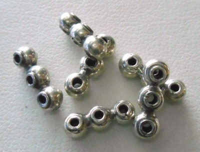 Bead - 14x4mm - 6 Beads - Sterling Silver<br>B38