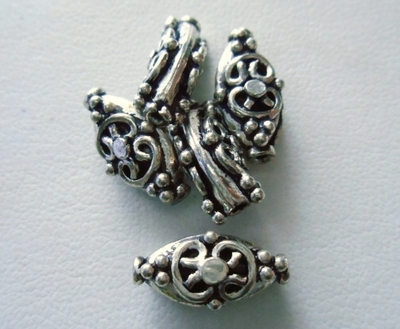 Bead - 15x7mm - 5 Beads - Sterling Silver<br>MB32