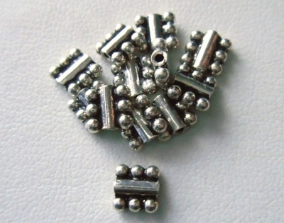 Bead - 5x5mm - 12 Beads - Sterling Silver<br>MB14