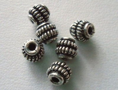Bead - 5x5mm - 6 Beads - Sterling Silver<br>B18