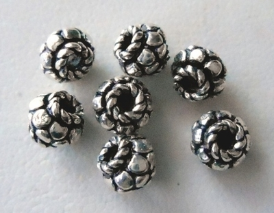 Bead - 5x6mm - 7 Beads - Sterling Silver<br>B52