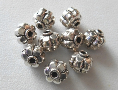 Bead - 6mm - 9 Beads - Sterling Silver<br>B86