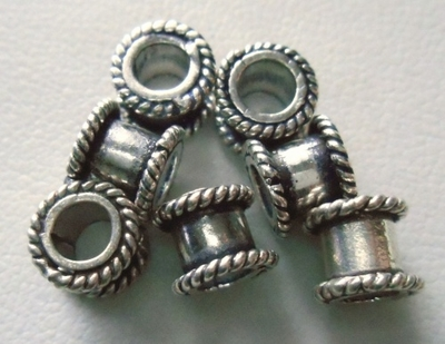 Bead - 6x7mm - 7 Beads - Sterling Silver<br>B7