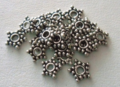 Bead - 7mm - 22 Beads - Sterling Silver<br>B37