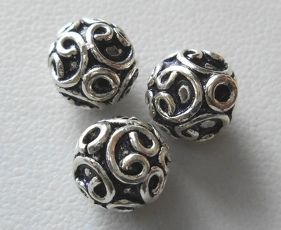 Bead - 8mm - 3 Beads - Sterling Silver<br>B125