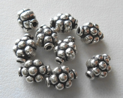 Bead - 8x6mm - 9 Beads - Sterling Silver<br>B126