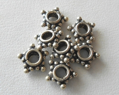 Bead - 9mm - 7 Beads - Sterling Silver<br>B73-9