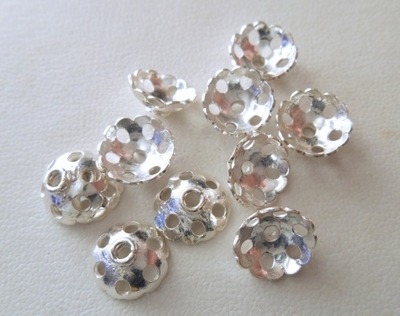 Bead Cap - 10mm - 11 Caps - Sterling Silver<br>BC26