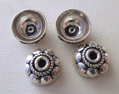 Bead Cap - 10mm - 4 Caps - Sterling Silver<br>BC10-10