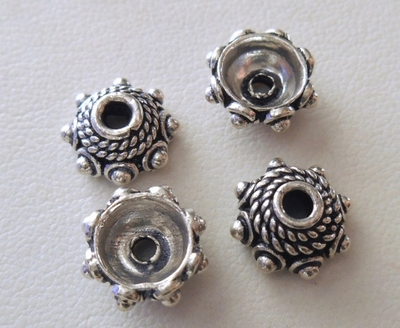 Bead Cap - 11mm - 4 Caps - Sterling Silver<br>BC7-11