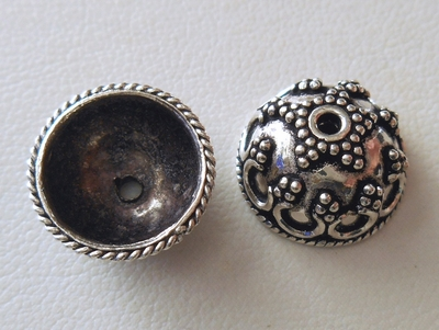 Bead Cap - 14x6mm - 2 Caps - Sterling Silver<br>BC17