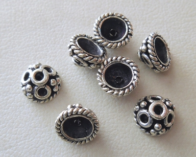 Bead Cap - 7x4mm - 7 Caps - Sterling Silver<br>BC27
