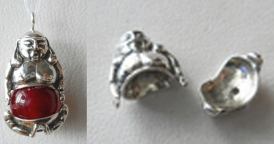 Bead Cap Set - Buddha - Top 13x11mm Bottom 12x5mm - 1 Set - Sterling Silver<br>Z1142