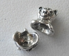 Bead Cap Set - Teddy Bear - Top 8x7mm Bottom 4x6mm - Sterling Silver<br>Z1146