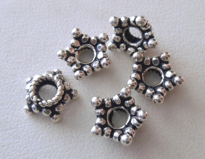 Bead Caps - 10x4mm - 5 Caps - Sterling Silver<br>BC5-10