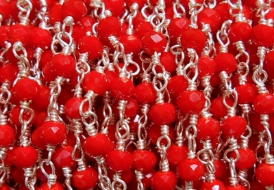 Rosary Beaded Chain Coral .999 Silver Over Copper