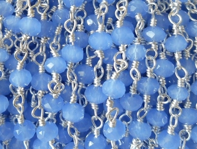 Beaded Chain By-the-Foot - Powder Blue - .999 Silver Over Copper<br>SCBKCH-G1