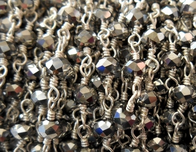 Beaded Chain By-the-Foot - Silver Pyrite - .999 Silver Over Copper<br>SCBKCH-G1