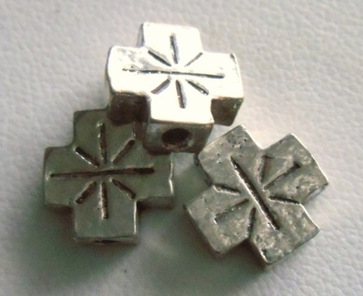Beads - 10x10mm - 3 Beads - Sterling Silver<br>FB3