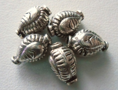 Beads - 12x7mm - 6 Beads - Sterling Silver<br>B22