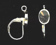 Bezel Cup Lever Back - 8x5mm Cab Setting - 1 Pair - Sterling Silver<br>LB86-R