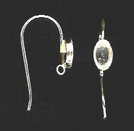 Bezel Cup Wire - 6x4mm Cab Setting - 1 Pair - Sterling Silver<br>ST64R