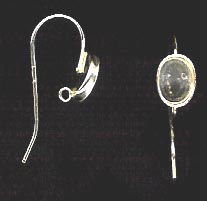 Bezel Cup Wire - 8x6mm Cab Setting - 1 Pair - Sterling Silver<br>ST86R