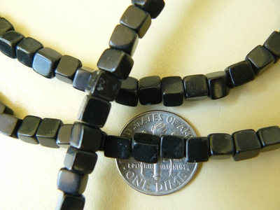 Black Onyx 6mm square beads