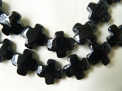 "Black Onyx Cross Beads 15x15 6mm 15"" Strands"