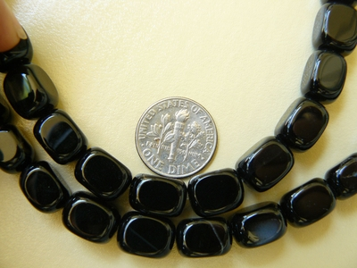 "Black Onyx Cube beads 8x10mm 16"" Strands"