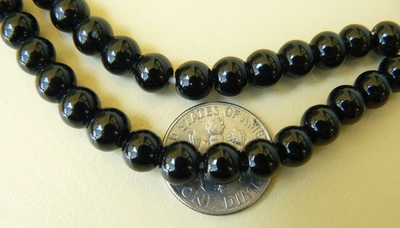 "Black Onyx Round 8mm beads 16"" strands shiney"