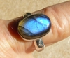 Blue Labradorite ring set in Sterling Silver size 6-3/4 10x13mm stone