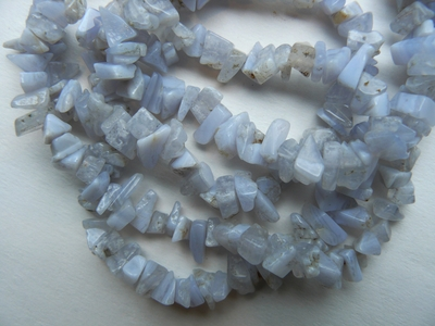 """Blue Lace Agate Beads Polished Chips 36"""" Strands"""