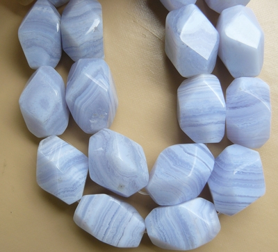 "Blue Lace Agate Beads - Faceted Nuggets 16"" strands"