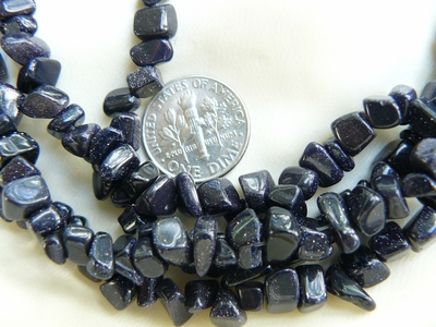 """Blue Stone Chip Beads 36"""" continuous strands 5x8mm avg. size"""