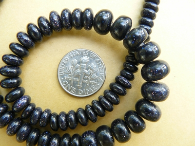 "Blue Stone Graduated from 4 to 10mm Rondelle Beads 16"" Strand"
