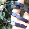 "Blue Stone Rectangle Beads 8x10mm 16"" Strands"