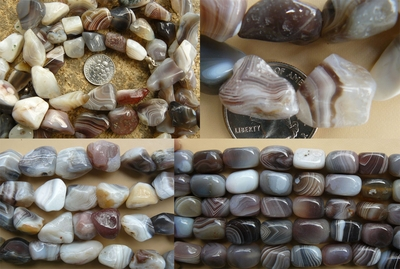 "Botswana Agate Beads - Square, Chunky and more 16"" Strands"
