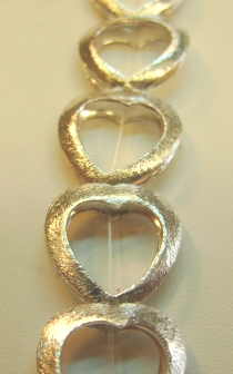 Bright Brushed Heart Shaped Bead Frame - 18x17mm - 13 Beads - .999 Silver Over Copper <br>SCBKM2