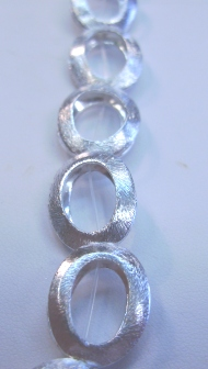 Bright Brushed Silver Oval Bead Frame - 18x13mm - 12 Beads - .999 Silver Over Copper <br>SCBKM1