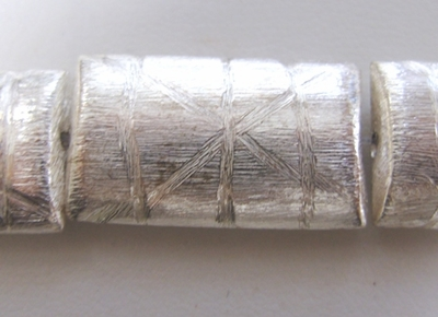 Brushed Etched Rectangle Bead - 8 Beads - 27x16mm - Sterling Over Copper<br>SCBK247