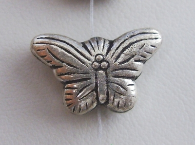 Buttefly Bead Style 2 - 12x20x6mm - 19 Beads - .999 Silver Over Copper<br>SCBK62