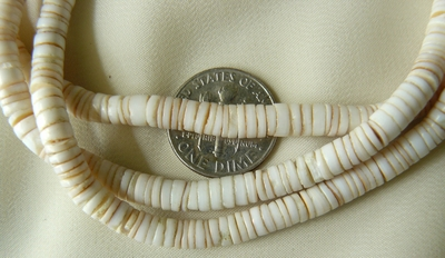 """Canarium Heishi Beads 16"""" strand 5mm just tie it on and Luau"""