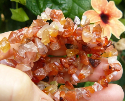 "Carnelian Chip Beads 36""strand ready to wear 6mm Avg. size"