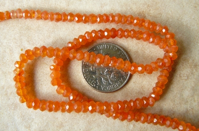 Carnelian faceted beads 4mm 14 inch strands natural vivid orange