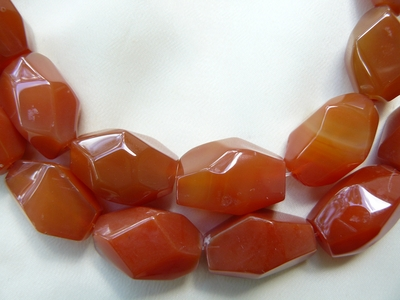 Carnelian Beads Faceted Chunky Nuggets 17x21mm