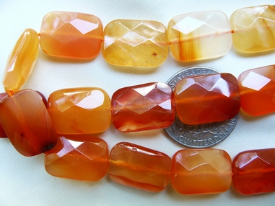 "Carnelian Beads Faceted Rectangles 18x13x7mm 16"" strands"
